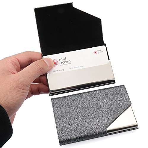 YOBANSA PU Leather & Stainless Steel Business Card Holder Credit Card Holder Name Card Holder Business Card Case for Men and Women (Grey 01) -