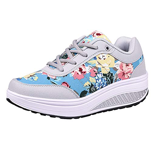 (2019 Summer New Women's Casual Platform Wedge Air Cushion Sneakers Outdoor Soft Breathable Thick Bottom Lightweight Shoes (Sky Blue, US:7))