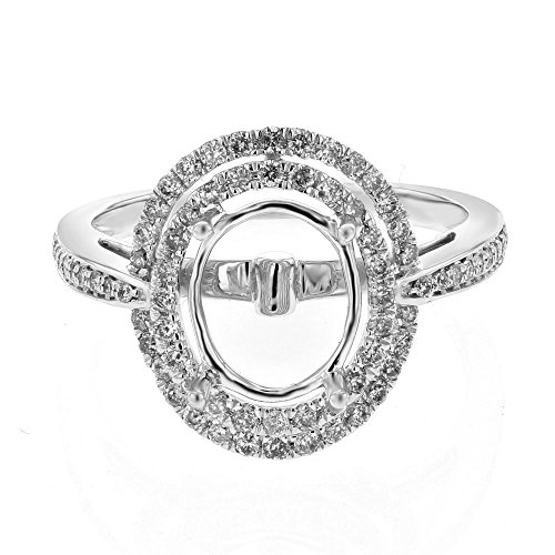 14K White Gold Round Semi Mount Ring (0.53 ctw, H-I Color, I2-I3 Clarity)