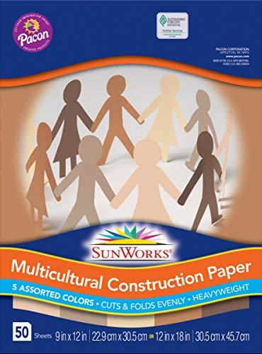 (SunWorks 9512 Multicultural Construction Paper, 12