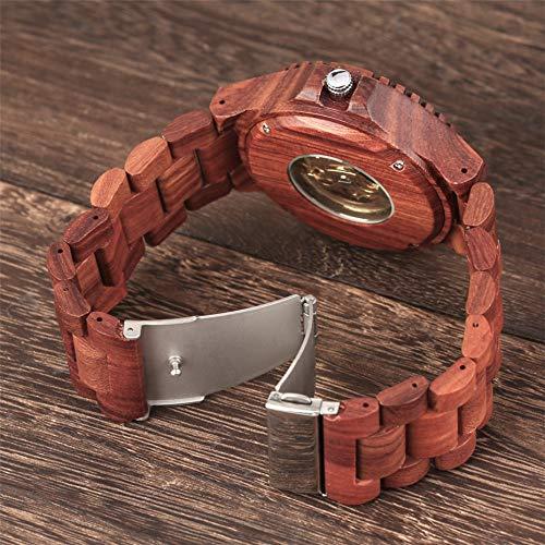 ZJQQS Träklocka röd träklocka automatisk tidpunkt herr trä armring klocka självslingande mekaniska herrklockor