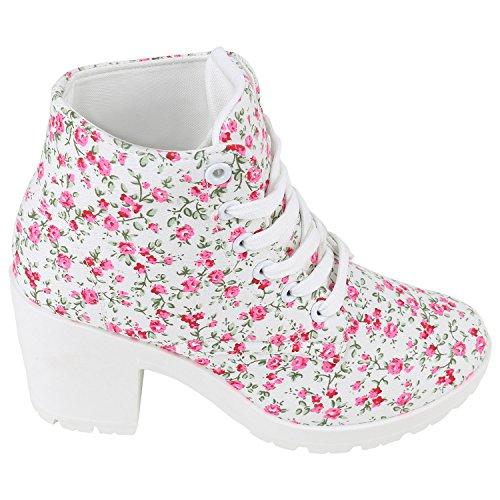 a20aaf38b1dd ... Schnürstiefeletten Schnürboots Stiefelparadies Stiefeletten Boots  Profilsohle Schuhe Chunky Damen Damenschuhe Schnürer Flandell Blumen Blumen  Weiss