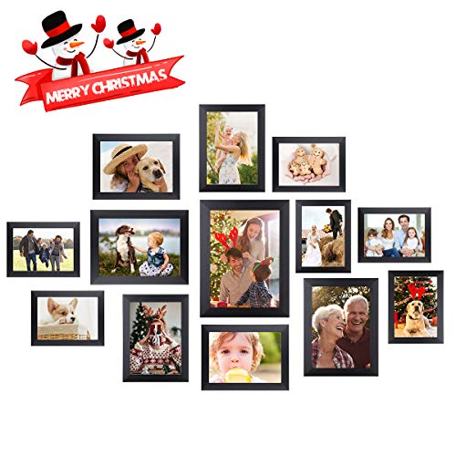 Homemaxs Picture Frames 12 Pcs Collage Photo Frames Gallery Wall Frame Set for Wall and Home, One 8x10 in, Four 5x7 in, Five 4x6 in, Two 6x8 in, Black (Collage Photo Frame Wall)