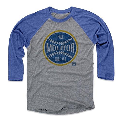 500 LEVEL Paul Molitor Baseball Tee Shirt (Medium, Royal/Heather Gray) - Milwaukee Brewers Raglan Tee - Paul Molitor Ball by