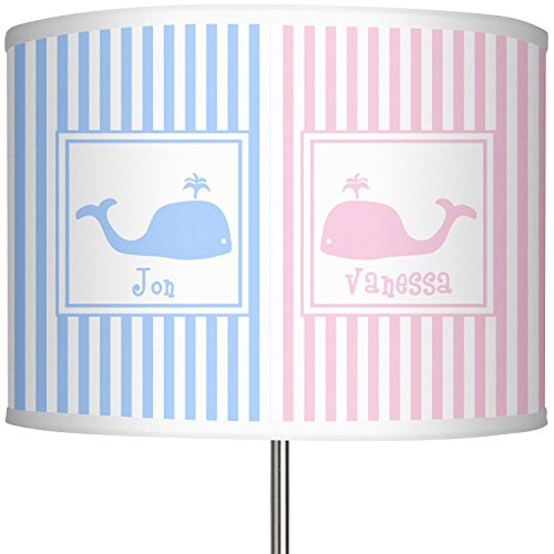 RNK Shops Striped w/Whales 13'' Drum Lamp Shade Polyester (Personalized) by RNK Shops