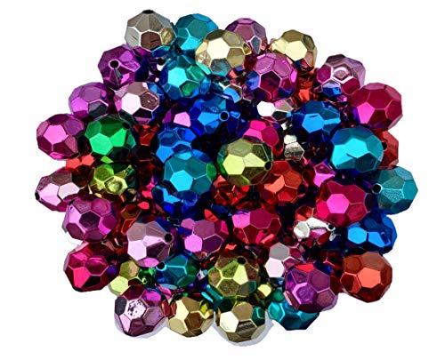 - 20mm UV Faceted Metallic Beads 50 Count Mixed Pack Chunky Bubble Gum Beads