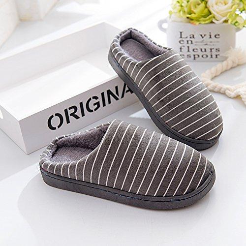LaxBa Femmes Hommes chauds d'hiver Chaussons peluche antiglisse intérieur Cotton-Padded gris Chaussures Slipper44/45 42-43 mètres pour porter