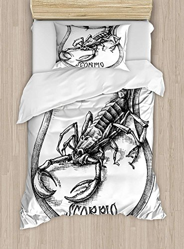 YEHO Art Gallery Full Bedding Sets for Boys,Astrology Bedding Sets,Black and White Heraldry Zodiac Scorpio Image Graphic with Claws Stars Design,Include Bedding Sheets Set 4 Piece,Black White