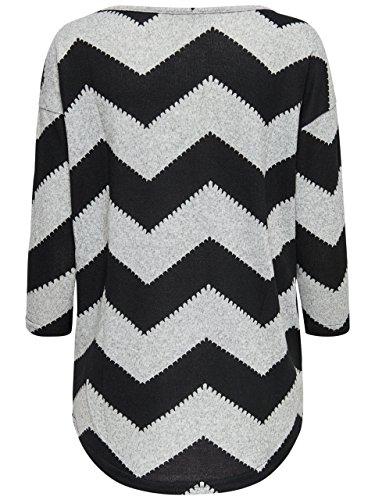 ONLY - Pull - Femme Gris grau mit schwarz (Light Grey Melange)