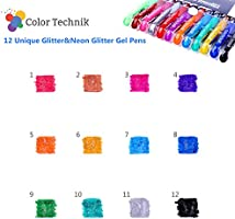 Glitter Gel Pens from Color Technik, Set of 12 Professional Artist Quality Pens. Best Gel Pen Colours with Comfort Grip. Enhance Your Adult Colouring Book: Amazon.es: Hogar