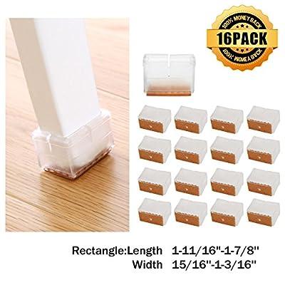 Chair Leg Caps, MATDOM Chair Leg Wood Floor Protectors with Felt Pads,Anti-slip Silicone Furniture Leg Feet,Chair Feet Glides 16 Pack (Rectangular L:1-11/16''-1-7/8'' W:15/16''-1-3/16'')