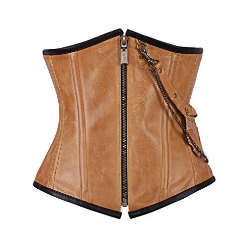 [Fully Spiral Steel Boned Tan Leather Steampunk Underbust Corset-18] (Brown Leather Corset)