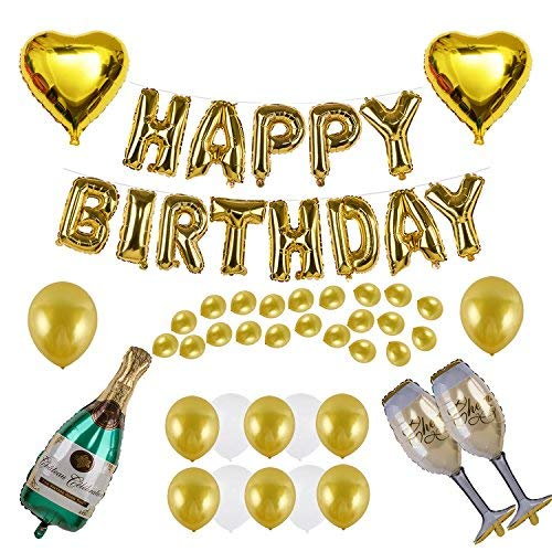 Kwayi Birthday Supplies. Gold Balloon Decoration Set With HAPPY BIRTHDAY Foil Balloon Large Champagne Balloons And Latex Balloons 48Pcs For Birthday Party Supplies -