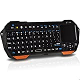 Fosmon Portable Lightweight Mini Wireless Bluetooth Keyboard Controller (QWERTY keypad) with Built-In Touchpad for Apple iOS / Android / Windows Smartphones, Tablets, PS3 / PS4, Laptop, Notebook and others (Black & Orange)