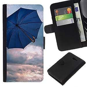 Leather Etui en cuir || Sony Xperia M2 || Paraguas Azul lluvia Depresión nubes de primavera @XPTECH