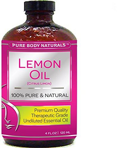Pure Body Naturals Therapeutic Grade Undiluted Essential Lemon Oil, 4 fl. oz.