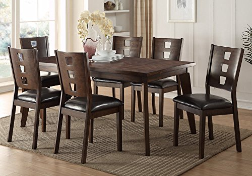 1PerfectChoice 7 pcs Dining Set Rectangular Table Chair w/ Dark Brown PU Seat Dark Walnut Wood
