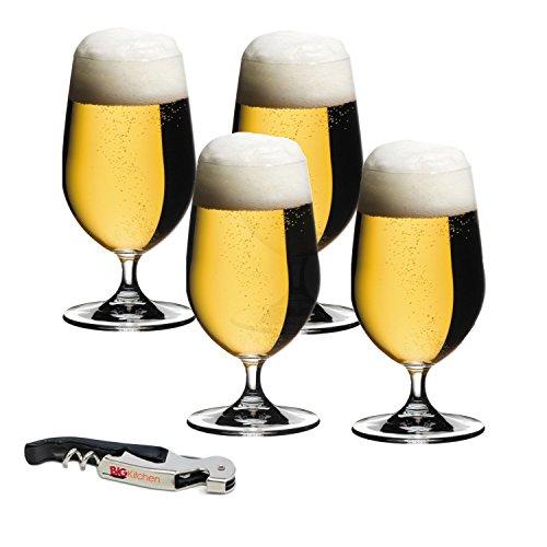 Riedel Ouverture 4 Piece Beer/Ice Water Bar Glass Set with Bonus BigKitchen Waiter's Corkscrew -