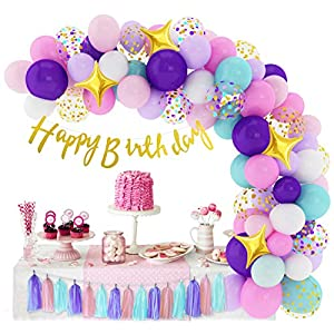 Best Epic Trends 51%2BTpbxvajL._SS300_ 338Pcs Unicorn Birthday Balloons Arch Garland Kit, Confetti Latex Foil Purple Pink Balloons Happy Birthday Banner…