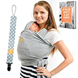 Baby Wrap Carrier 5-in-1 Bundle for Newborn, Infants, Toddlers up to 35 Ibs - Hands Free Stretchy Baby Sling Includes Pocket Pacifier Clip & eBook Perfect for Baby Shower Gift - Organic Cotton (Grey) Image