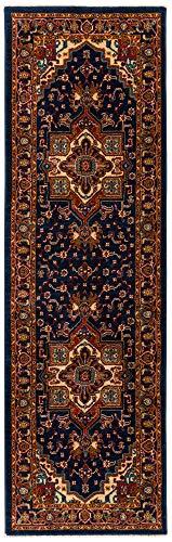 Antep Rugs Oriental Wave Collection Tabriz Polypropylene Runner Rug (Navy/Ivory, 2