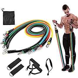 Resistance Bands Set -11Piece Exercise Bands – Portable Home Gym Accessories – Familyworkout Gym Yoga- Perfect Muscle Builder for Arms Back Leg Chest Belly Glutes