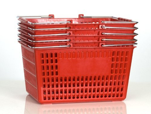 Shopping Basket (Set of 5) Durable Red Plastic with Metal Handles by Only Hangers