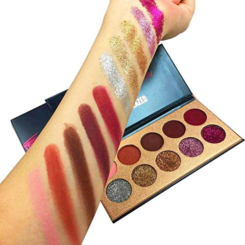 Beauty Glazed Eyeshadow Palette Insanely Pigments 5 Matte and 5 Glitter Make Up Eye Shadow Powder Long Lasting Waterproof 10 Colors