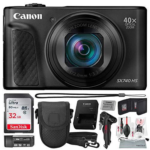 Canon PowerShot SX740 HS Digital Camera (Black) with 32GB Card & Point and Shoot Case Photo Savings Basic Bundle