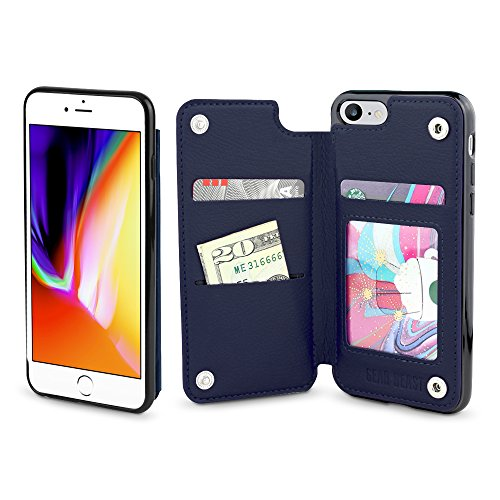 Gear Beast Lychee PU Leather Protective Top View Slim Wallet Case Fits iPhone 8/7 Includes Flip Folio Cover, with Five Card Slots Including Transparent ID Holder (Iphone 5s Case Flight)