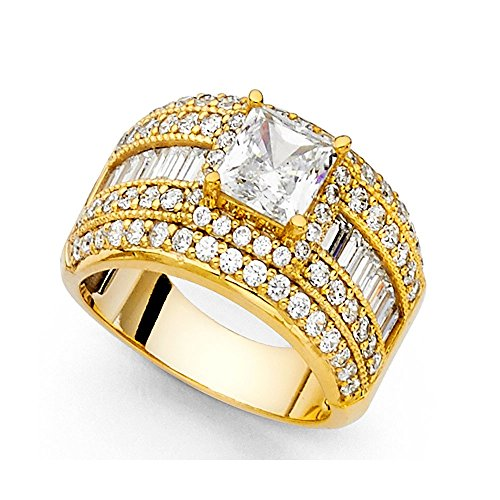Big Princess CZ Engagement Ring 14k Yellow Gold Anniversa...