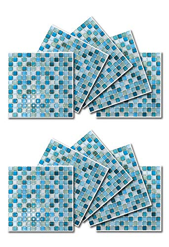 BEAUSTILE Decorative Tile Stickers Peel and Stick Backsplash Fire Retardant Tile Sheet (10pcs) (N.Blue) by BEAUS TILE (Image #1)