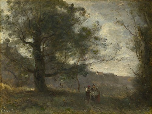 'Jean Baptiste Camille Corot The Oak In The Valley ' Oil Painting, 20 X 27 Inch / 51 X 68 Cm ,printed On High Quality Polyster Canvas ,this High Quality Art Decorative Prints On Canvas Is Perfectly Suitalbe For Bathroom Decor And Home Artwork And Gifts