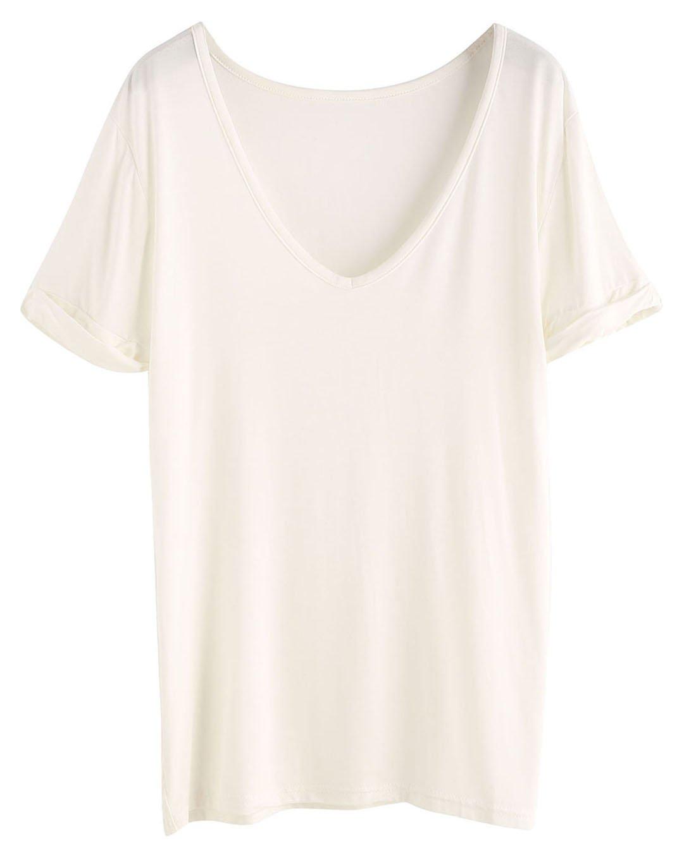 SheIn Women's Summer Short Sleeve Loose Casual Tee T-Shirt White# Medium