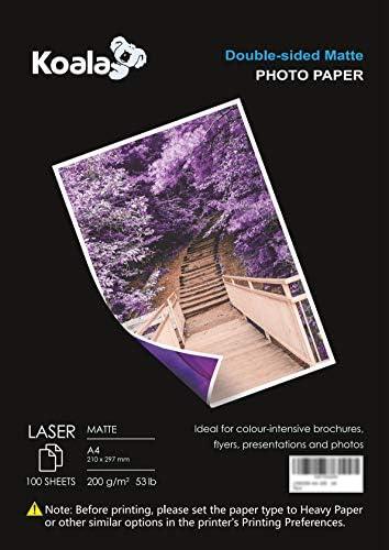 KOALA Fotopapier für Laserdrucker, doppelseitig, matt, DIN A4, 200 g/m², 100 Blatt, 210x297 mm, für alle LASER-Drucker und -Kopierer
