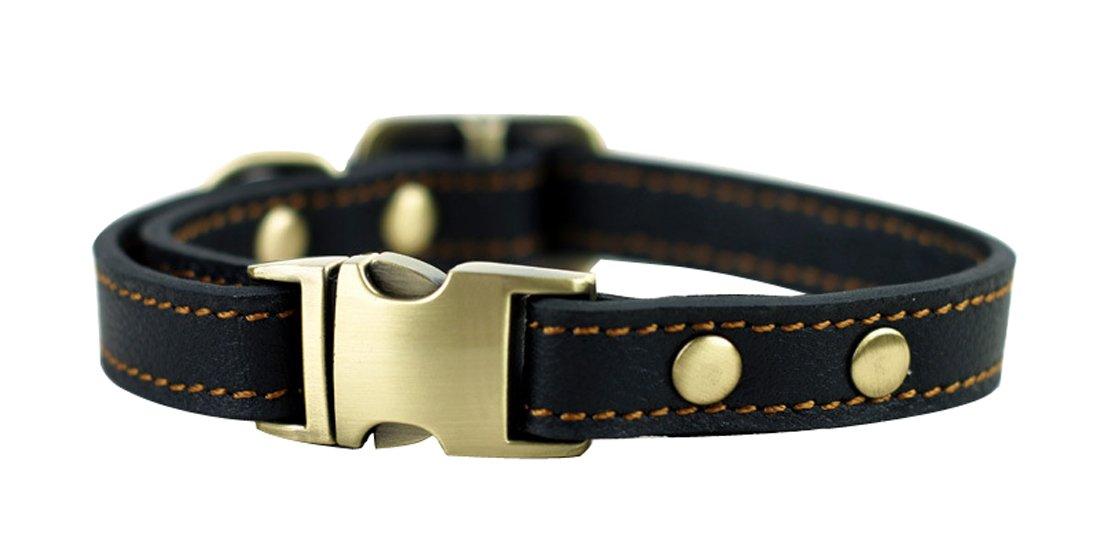 Kismaple Colliers en cuir souple en cuir pour petits chiens, Collier de ceinture à col réglable réglable pour chiens, 24cm-36cm et 1.5cm Colliers larges pour chien Boucle en métal Collier de chien classique de base en cuir massif Réglable de 9 4 pouces à 1