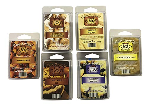 6 Pack Soy Wickless Candle Wax Bar Melts - Bakery Pack. Hot Apple Pie, Buttered Gingerbread, Pumpkin Spice, Vanilla Velvet, Blueberry Muffin and Lemon Ice Box Cake