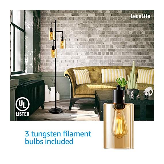LEONLITE Industrial Floor Lamp with Amber Glass, 3-Head Vintage Track Tree Standing Lamp, 40W Retro Industrial Torchiere Floor Light, UL Listed for Living Room, 2-Year Warranty, Pack of 2 - Retro Style: This amber glass floor lamp adopts a retro style and the 3 included tungsten filament bulbs have a 360° beam angle that lights up every corner of your room Multiple Choices: This floor lamp matches ST64 and ST58 bulbs and we offer extra 2200K 3 40W tungsten filament bulbs Perfect Design: 18.11inch × 14.17inch × 10.24inch, this floor lamp gives the right amount of light you need when you sit on the sofa. It's the best choice for the living room, study room, dining room, bedroom and other indoor living spaces - living-room-decor, living-room, floor-lamps - 51%2BTsASNtsL. SS570  -