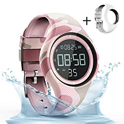 synwee Sports Fitness Tracker Watch,IP68 Waterproof, Non-Bluetooth, with Pedometer/Vibration Alarm Clock/Timer,for Kid Children Teen Boys Girls Women (Camouflage Pink)