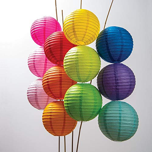 Luna Bazaar Paper Lanterns (8-Inch, Parallel Style Ribbed, Multicolor, Set of 12) - Rice Paper Chinese/Japanese Hanging Decorations - For Home Decor, Parties, and Weddings -