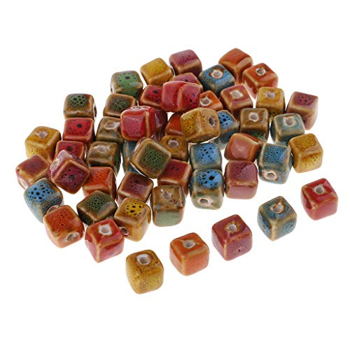(Fityle 50 Pieces Cube/Triangle Bead Flower Glaze Charm Ceramic Beads Porcelain Bead DIY Handmade Braided Bracelet Materials Vintage Fashion Jewelry Findings - 10mm)