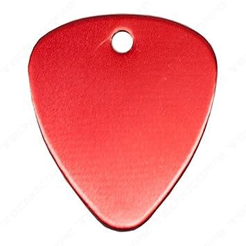 Púa con grabado personalizado color rojo con cadena de ...