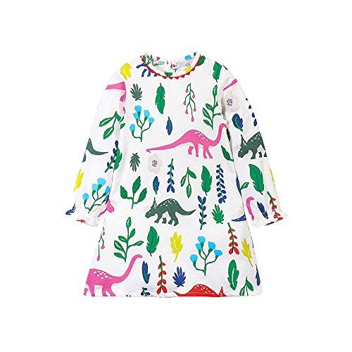 Budazo Girls Dinosaur Print Dresses, Cute Cartoon Pattern Cotton Casual Long Sleeve Dress For Toddler(Dinosaur1,6T) (Casual Cartoon Pattern)