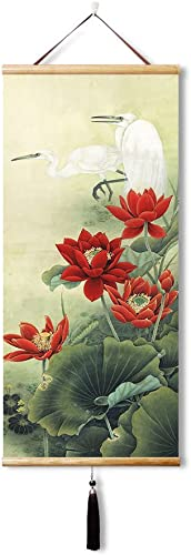 EAPEY Chinese Feng Shui Silk Hanging Painting Lotus and heron Home Office Decoration Calligraphy Artwork Wall Scroll 45X100CM