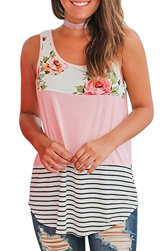 (Tops for Women Summer Sleeveless Tunic Shirts Floral Print Casual Tank Tops Pink XL)