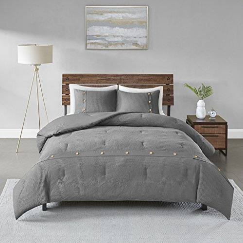 Madison Park Finley Comforter Reversible 100% Cotton Honeycomb Waffle Weave Sensory Texture Wood Button Accent Soft Down Alternative Hypoallergenic All Season Bedding-Set, King/Cal King, Grey ()