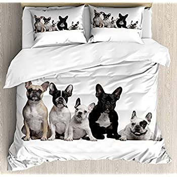 Image of Bulldog Luxury 4 Piece Bedding Set King Size, Group of Young French Bulldogs with Adorable Expressions Animal Lover Photo, Duvet Cover Set Quilt Bedspread for Kids/Teens/Adults, Black White Beige Home and Kitchen