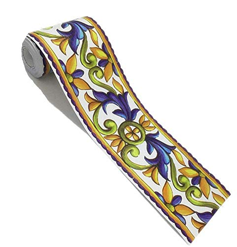amao elegante patrón extraíble cenefa adhesiva Stciker Cocina Azulejos baño decoración, Floral, Una talla, B
