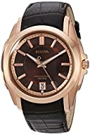 Bulova Men's 97B110 Precisionist Rose-Tone Brown Leather Watch
