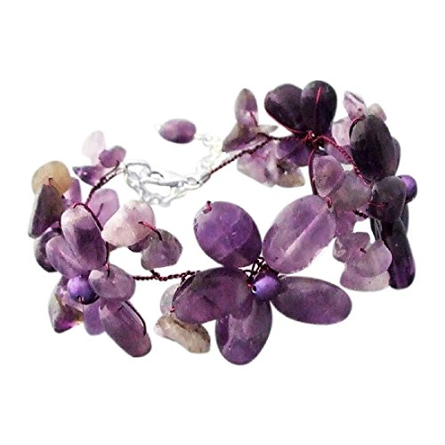 (AeraVida Simulated Amethyst and Cultured Freshwater Purple Pearl Flower Link Bracelet)
